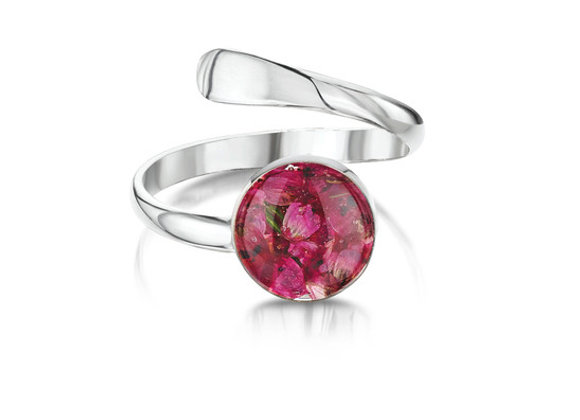 Heather Real Flower Silver Ring