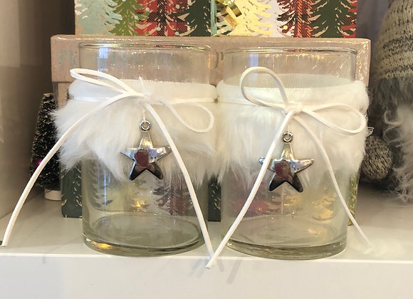 Silver star and white fur candle holder