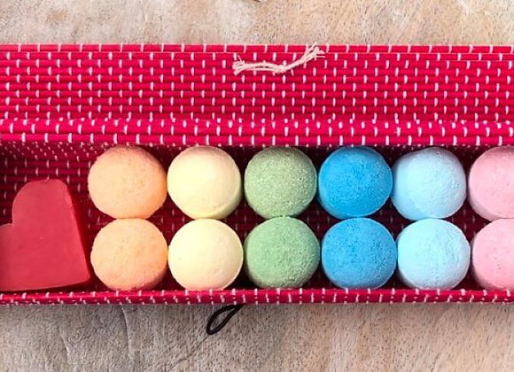 Rainbow Mini Bath Bombs Bamboo Gift Set