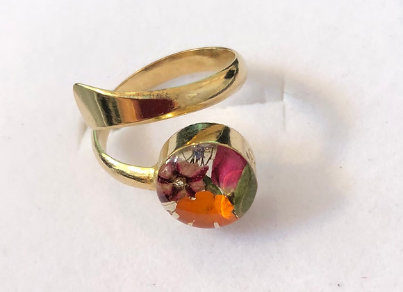 Mixed Real Flower Gold Ring