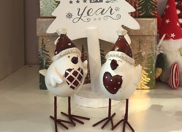 Pair of Quirky Metal Christmas Song Birds