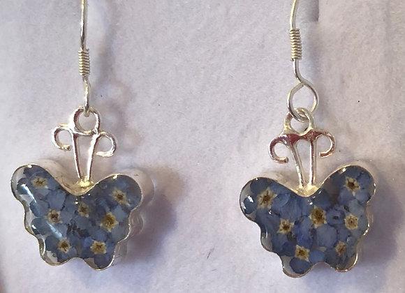 Silver Butterfly Forget Me Not Earrings