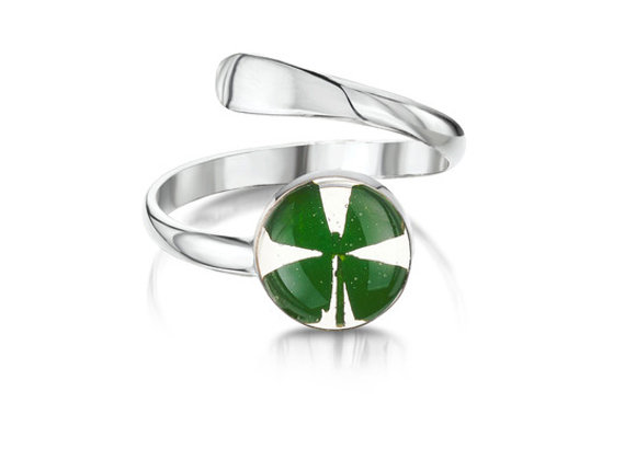 Four Leaf Clover Silver Ring