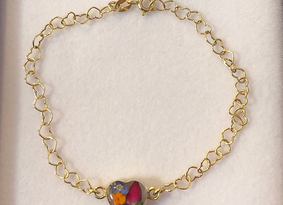 MIxed Flower Gold Heart Link Bracelet