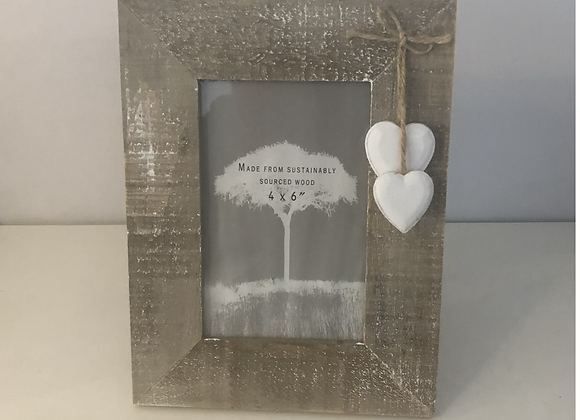 Rustic Wood Frame with Hanging Hearts