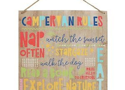 Campervan Rules Hanging Sign