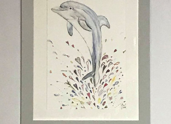 Dinah the Dolphin Framed Original Art Print