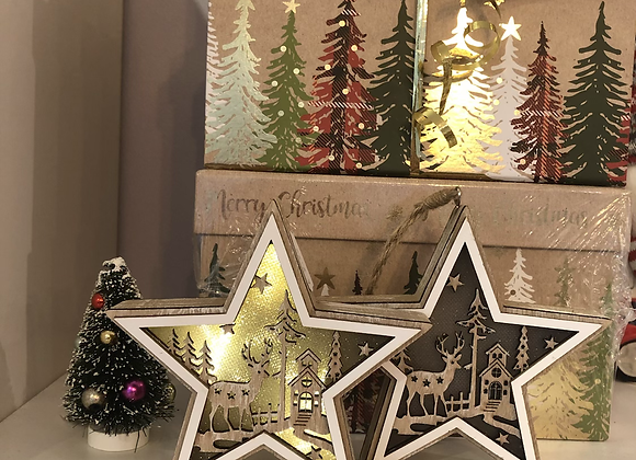 Rustic Wood Light Up Star