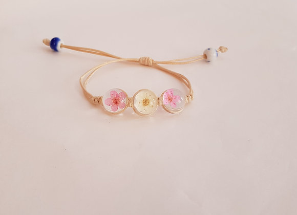 Real Flower Bead Bracelet