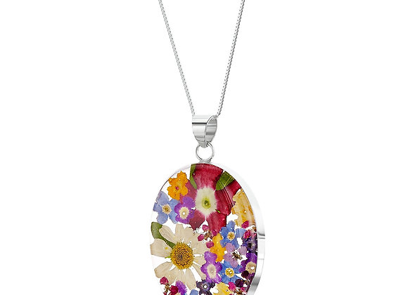Silver Oval Pendant Necklace - Mixed Flowers
