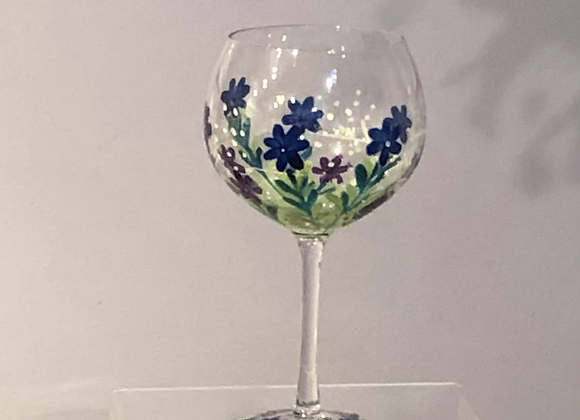 Hand Painted Meadow Flowers Gin Goblet