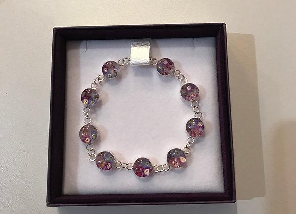 Purple Flower Silver Bracelet
