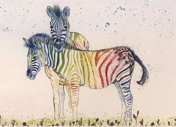 Zig and Zag Rainbow Zebra Framed Original Art Print