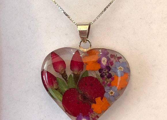Real Mixed Flower Silver Heart Necklace