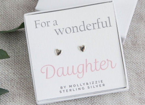 """Silver Heart Earrings """"For a Wonderful Daughter"""""""