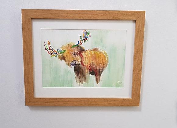 Herbert the Highland Cow Framed Original Art Print