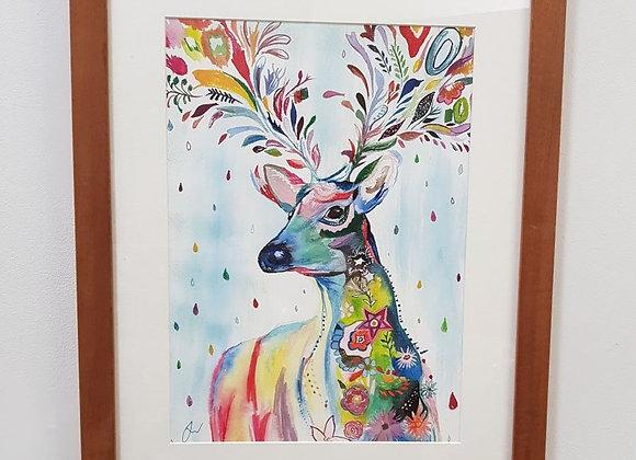 Alive the Deer Framed Original Art Print