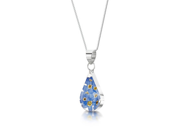 SilverTeardrop Forget Me Not Pendant Necklace