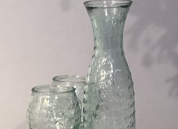 Recycled Glass Carafe With Two Tumblers