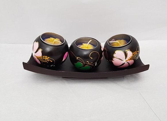 Triple Mango Wood Floral Tea Light Holder