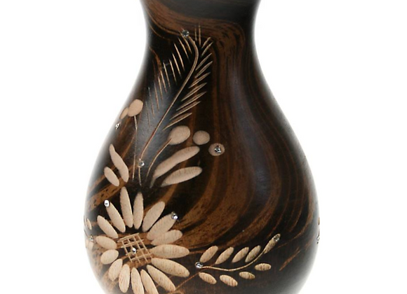 Hand Carved Wooden Flower Vase