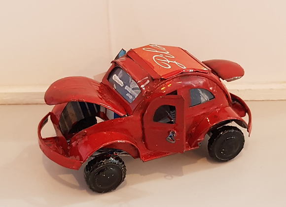VW Beetle recycled cans red
