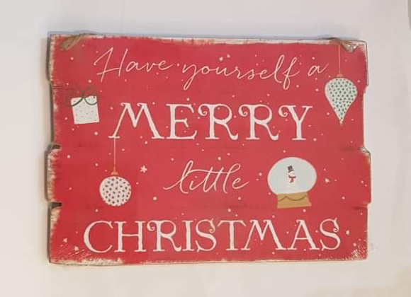 Merry Little Christmas Hanging Sign