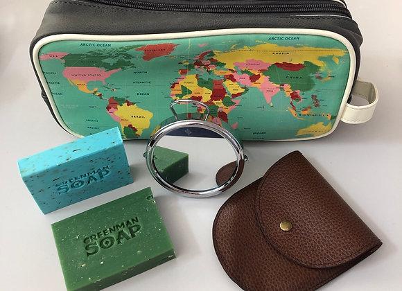 Vintage World Map Wash Bag Gift Set