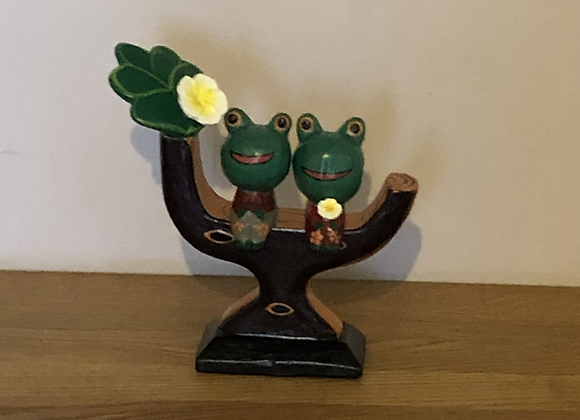 Wooden Frogs in a Tree Ornament