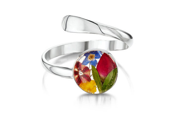 Mixed Real Flower Silver Ring
