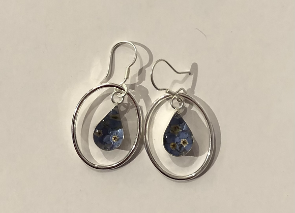 Forget Me Not Teardrop Earrings with Silver Surround