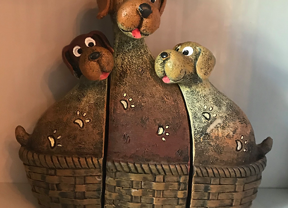 Cartoon Style Dogs in Basket