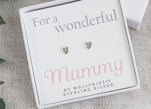 "Silver Heart Earrings ""Wonderful Mummy"""