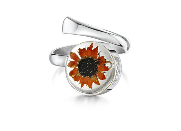 Sunflower Real Flower Silver Ring