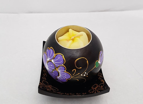 Single Mango Wood Floral Tea Light Holder