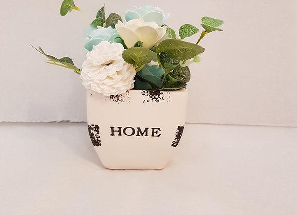 Soap Flowers in Ceramic Pot