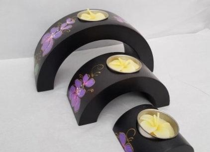 Triple Arch Mango Wood Tea Light Holder