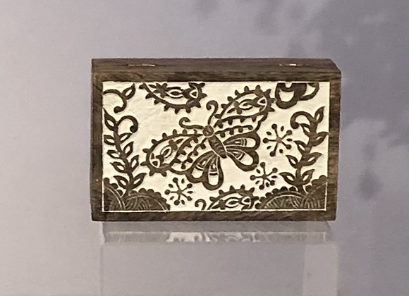 Carved Butterfly Decorative Wooden Box