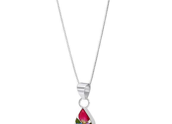 Silver Teardrop MIxed Flower Pendant Necklace