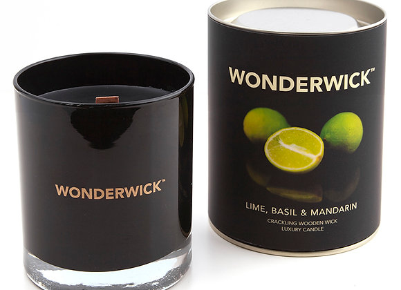 Lime, Basil & Mandarin Black Glass Scented Crackle Candle