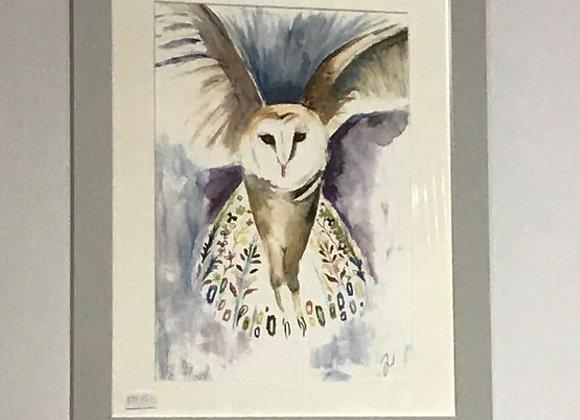 Athena the Owl Framed Original Art Print