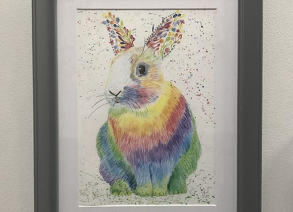 Raza the Rainbow Rabbit Original Art Print