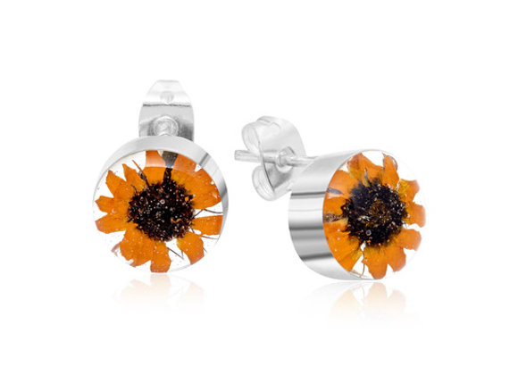 Silver Sunflower Stud Earrings