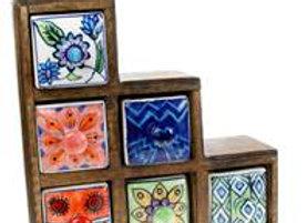 Wooden mini chest, 3+2+1 ceramic drawers