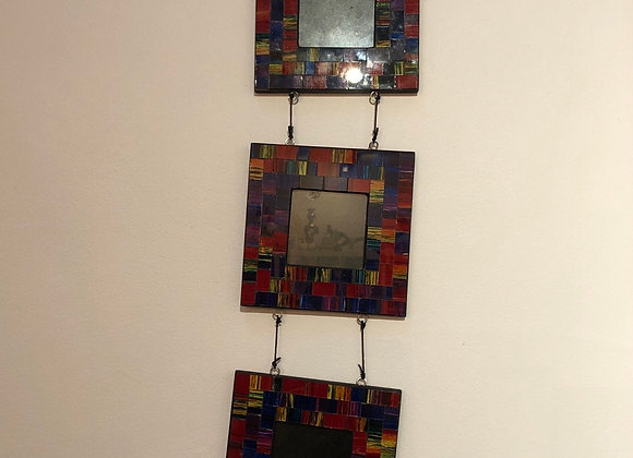 Multicoloured Glass Triple Hanging Frame