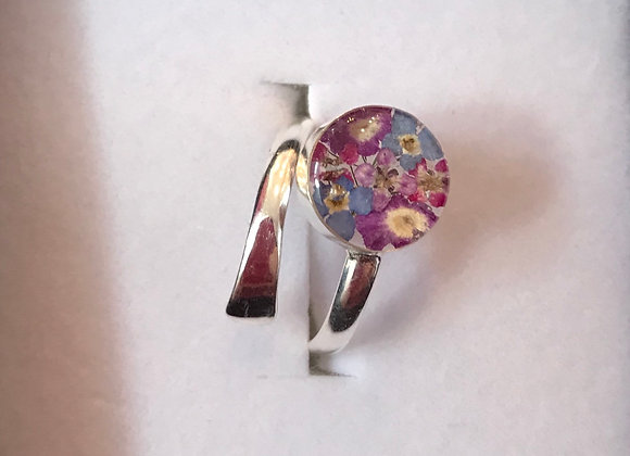 Purple Mix Real Flower Silver Ring