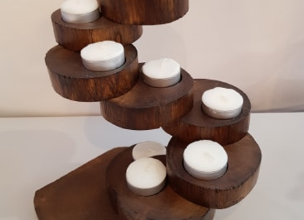 8 Tier Recycled Teak Tea Light Holder