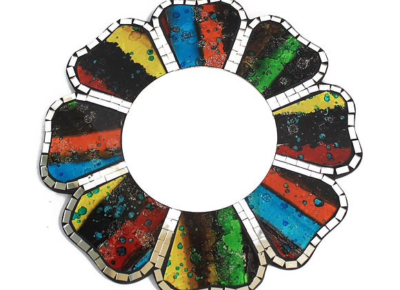 Hand crafted Flower Four Colour Mosaic Mirror