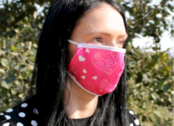 Pink Hearts Fashion Face Covering