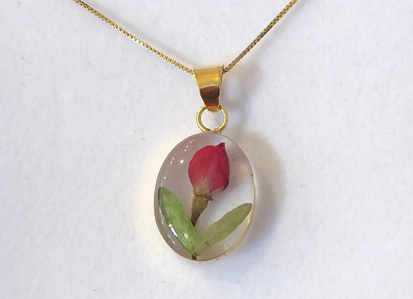 Rosebud Gold Oval Pendant Necklace